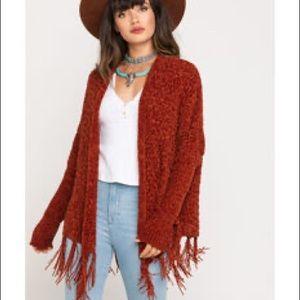 Mystree Chenille Knit Cardigan Open Front Fringe